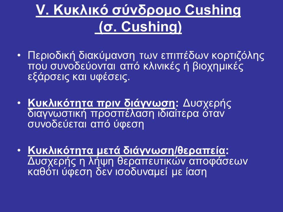 V. Κυκλικό σύνδρομο Cushing (σ. Cushing) Περιοδική διακύμανση των επιπέδων κορτιζόλης που συνοδεύoνται από κλινικές ή βιοχημικές εξάρσεις και υφέσεις.