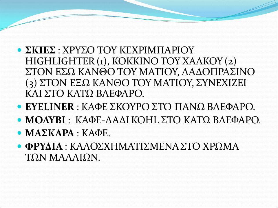 ΣΚΙΕΣ : ΧΡΥΣΟ ΤΟΥ ΚΕΧΡΙΜΠΑΡΙΟΥ HIGHLIGHTER (1), ΚΟΚΚΙΝΟ ΤΟΥ ΧΑΛΚΟΥ (2) ΣΤΟΝ ΕΣΩ ΚΑΝΘΟ ΤΟΥ ΜΑΤΙΟΥ, ΛΑΔΟΠΡΑΣΙΝΟ (3) ΣΤΟΝ ΕΞΩ ΚΑΝΘΟ ΤΟΥ ΜΑΤΙΟΥ, ΣΥΝΕΧΙΖΕΙ