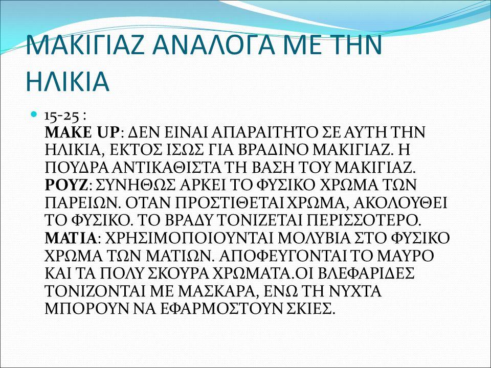 ΜΑΚΙΓΙΑΖ ΑΝΑΛΟΓΑ ΜΕ ΤΗΝ ΗΛΙΚΙΑ 15-25 : MAKE UP: ΔΕΝ ΕΙΝΑΙ ΑΠΑΡΑΙΤΗΤΟ ΣΕ ΑΥΤΗ ΤΗΝ ΗΛΙΚΙΑ, ΕΚΤΟΣ ΙΣΩΣ ΓΙΑ ΒΡΑΔΙΝΟ ΜΑΚΙΓΙΑΖ. Η ΠΟΥΔΡΑ ΑΝΤΙΚΑΘΙΣΤΑ ΤΗ ΒΑΣΗ