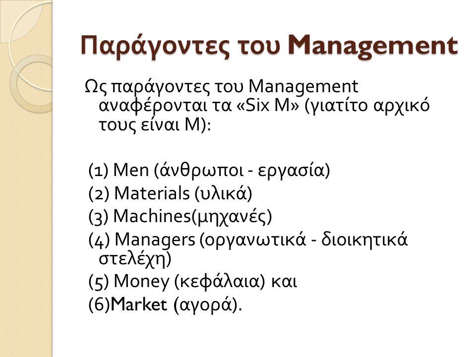 Παράγοντες του Management Ως παράγοντες του Management αναφέρονται τα «Six Μ » ( γιατίτο αρχικό τους είναι Μ ): (1) Μ en ( άνθρωποι - εργασία ) (2) Ma