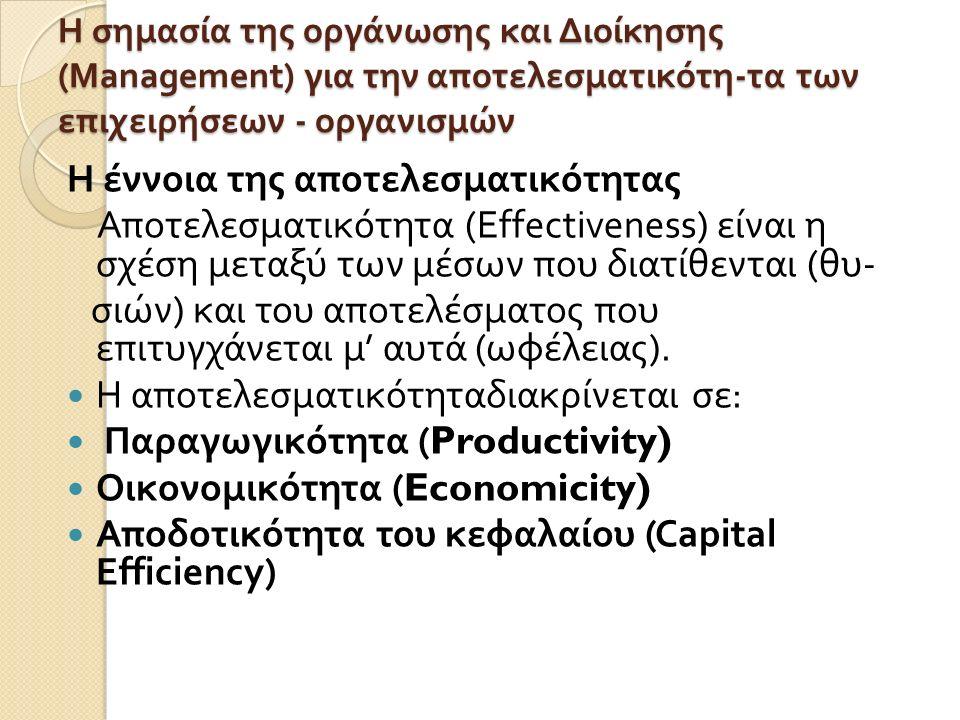 Η σημασία της οργάνωσης και Διοίκησης (Management) για την αποτελεσματικότη - τα των επιχειρήσεων - οργανισμών Η έννοια της αποτελεσματικότητας Αποτελ