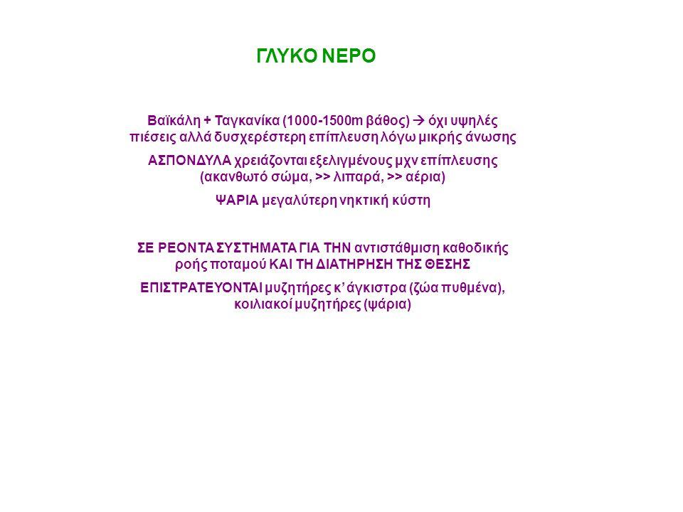 ΓΛΥΚΟ ΝΕΡΟ Βαϊκάλη + Ταγκανίκα (1000-1500m βάθος)  όχι υψηλές πιέσεις αλλά δυσχερέστερη επίπλευση λόγω μικρής άνωσης ΑΣΠΟΝΔΥΛΑ χρειάζονται εξελιγμένο