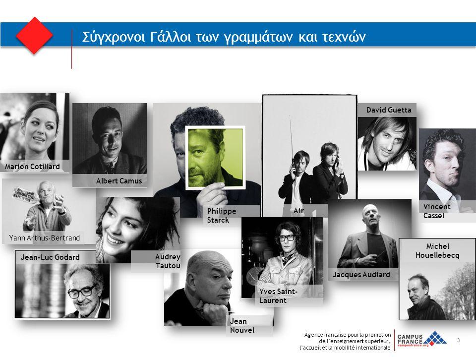 Agence française pour la promotion de l'enseignement supérieur, l'accueil et la mobilité internationale David Guetta Yann Arthus-Bertrand Albert Camus