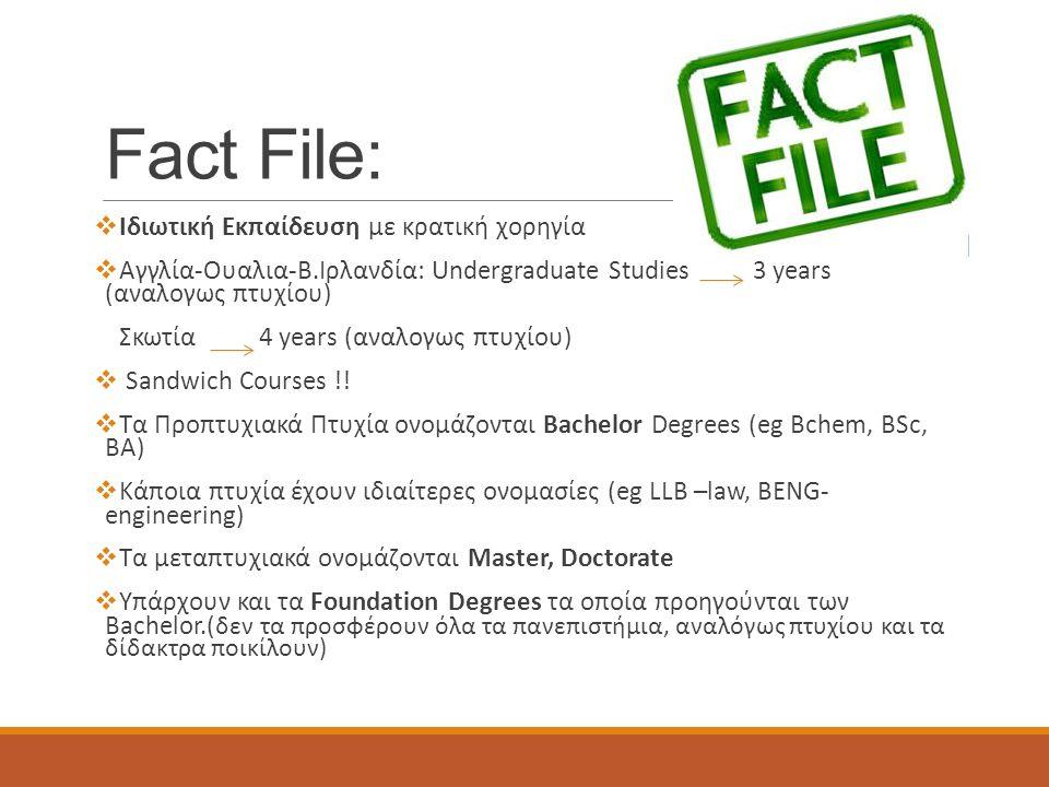 Fact File:  Ιδιωτική Εκπαίδευση με κρατική χορηγία  Αγγλία-Ουαλια-Β.Ιρλανδία: Undergraduate Studies 3 years (αναλογως πτυχίου) Σκωτία 4 years (αναλογως πτυχίου)  Sandwich Courses !.