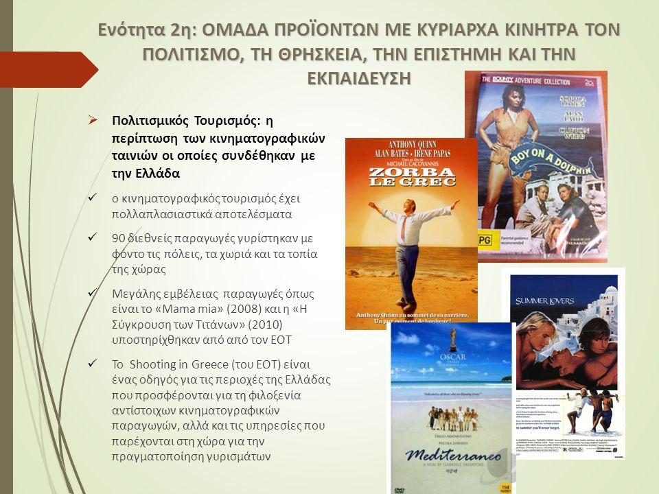  Πολιτισμικός Τουρισμός: η περίπτωση των κινηματογραφικών ταινιών οι οποίες συνδέθηκαν με την Ελλάδα ο κινηματογραφικός τουρισμός έχει πολλαπλασιαστικά αποτελέσματα 90 διεθνείς παραγωγές γυρίστηκαν με φόντο τις πόλεις, τα χωριά και τα τοπία της χώρας Μεγάλης εμβέλειας παραγωγές όπως είναι το «Mama mia» (2008) και η «Η Σύγκρουση των Τιτάνων» (2010) υποστηρίχθηκαν από από τον ΕΟΤ Το Shooting in Greece (του ΕΟΤ) είναι ένας οδηγός για τις περιοχές της Ελλάδας που προσφέρονται για τη φιλοξενία αντίστοιχων κινηματογραφικών παραγωγών, αλλά και τις υπηρεσίες που παρέχονται στη χώρα για την πραγματοποίηση γυρισμάτων Ενότητα 2η: ΟΜΑΔΑ ΠΡΟΪΟΝΤΩΝ ΜΕ ΚΥΡΙΑΡΧA ΚΙΝΗΤΡA ΤΟΝ ΠΟΛΙΤΙΣΜΟ, ΤΗ ΘΡΗΣΚΕΙΑ, ΤΗΝ ΕΠΙΣΤΗΜΗ ΚΑΙ ΤΗΝ ΕΚΠΑΙΔΕΥΣΗ