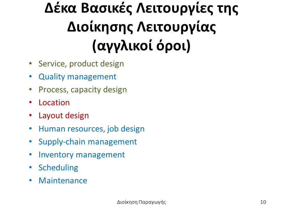 Δέκα Βασικές Λειτουργίες της Διοίκησης Λειτουργίας (αγγλικοί όροι) Service, product design Quality management Process, capacity design Location Layout design Human resources, job design Supply-chain management Inventory management Scheduling Maintenance Διοίκηση Παραγωγής10
