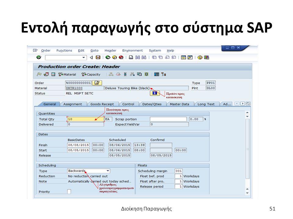 Εντολή παραγωγής στο σύστημα SAP Διοίκηση Παραγωγής51