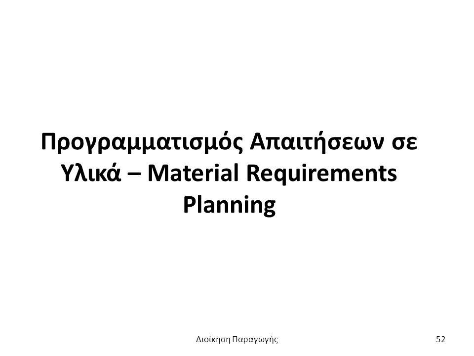 Προγραμματισμός Απαιτήσεων σε Υλικά – Material Requirements Planning Διοίκηση Παραγωγής52