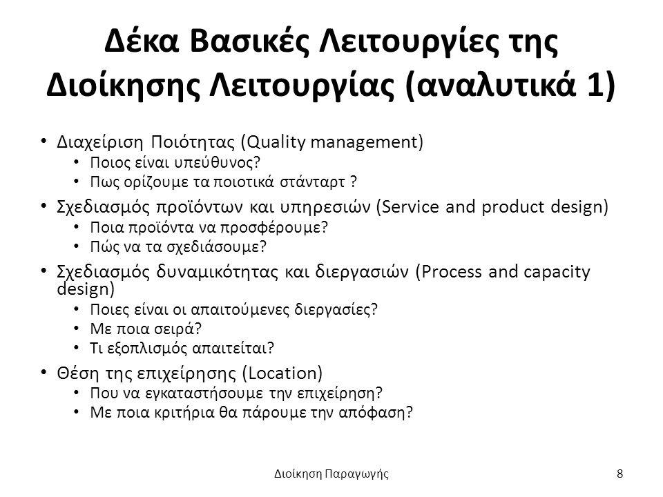 Δέκα Βασικές Λειτουργίες της Διοίκησης Λειτουργίας (αναλυτικά 1) Διαχείριση Ποιότητας (Quality management) Ποιος είναι υπεύθυνος.