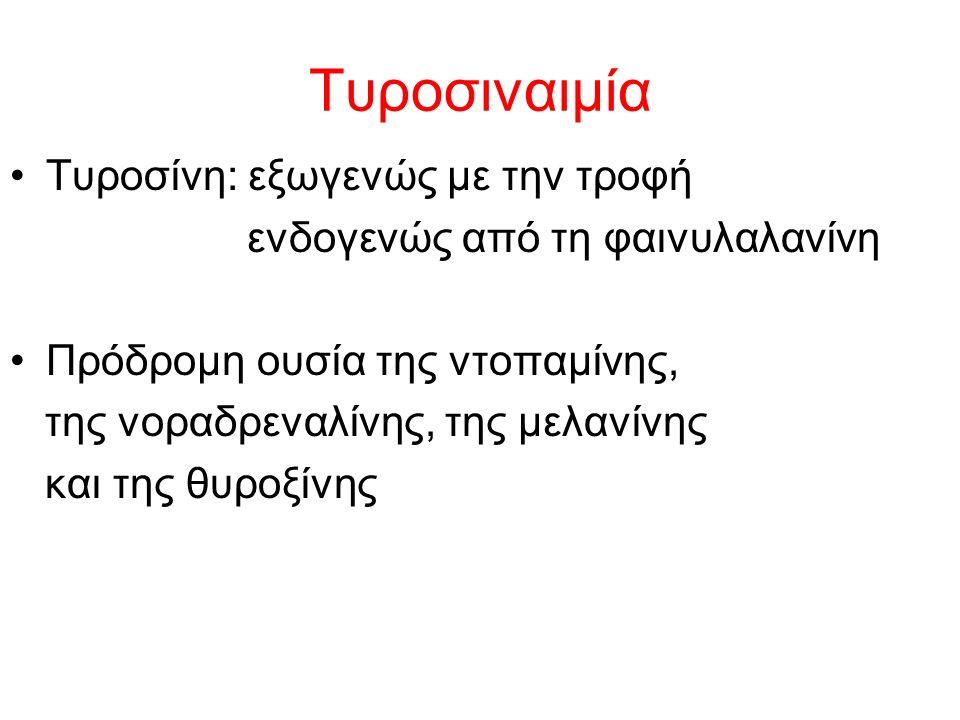 Τυροσιναιμία Τυροσίνη: εξωγενώς με την τροφή ενδογενώς από τη φαινυλαλανίνη Πρόδρομη ουσία της ντοπαμίνης, της νοραδρεναλίνης, της μελανίνης και της θυροξίνης