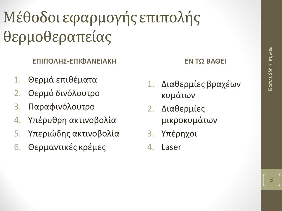 Μέθοδοι εφαρμογής επιπολής θερμοθεραπείας ΕΠΙΠΟΛΗΣ-ΕΠΙΦΑΝΕΙΑΚΗ 1.Θερμά επιθέματα 2.Θερμό δινόλουτρο 3.Παραφινόλουτρο 4.Υπέρυθρη ακτινοβολία 5.Υπεριώδης ακτινοβολία 6.Θερμαντικές κρέμες ΕΝ ΤΩ ΒΑΘΕΙ 1.Διαθερμίες βραχέων κυμάτων 2.Διαθερμίες μικροκυμάτων 3.Υπέρηχοι 4.Laser 3 Βασιλειάδη Κ, PT, MSc