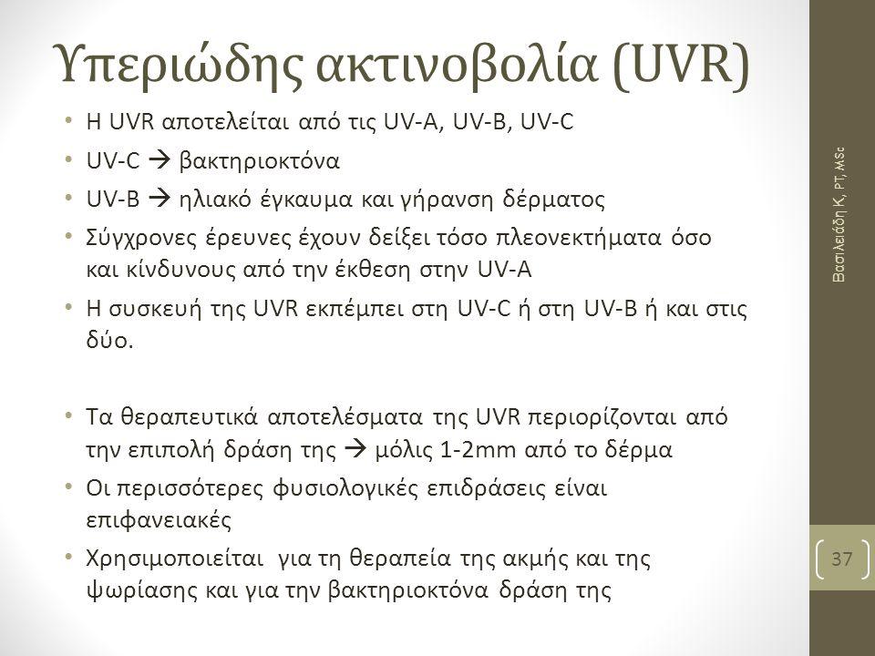 Υπεριώδης ακτινοβολία (UVR) Η UVR αποτελείται από τις UV-A, UV-B, UV-C UV-C  βακτηριοκτόνα UV-B  ηλιακό έγκαυμα και γήρανση δέρματος Σύγχρονες έρευνες έχουν δείξει τόσο πλεονεκτήματα όσο και κίνδυνους από την έκθεση στην UV-Α Η συσκευή της UVR εκπέμπει στη UV-C ή στη UV-B ή και στις δύο.