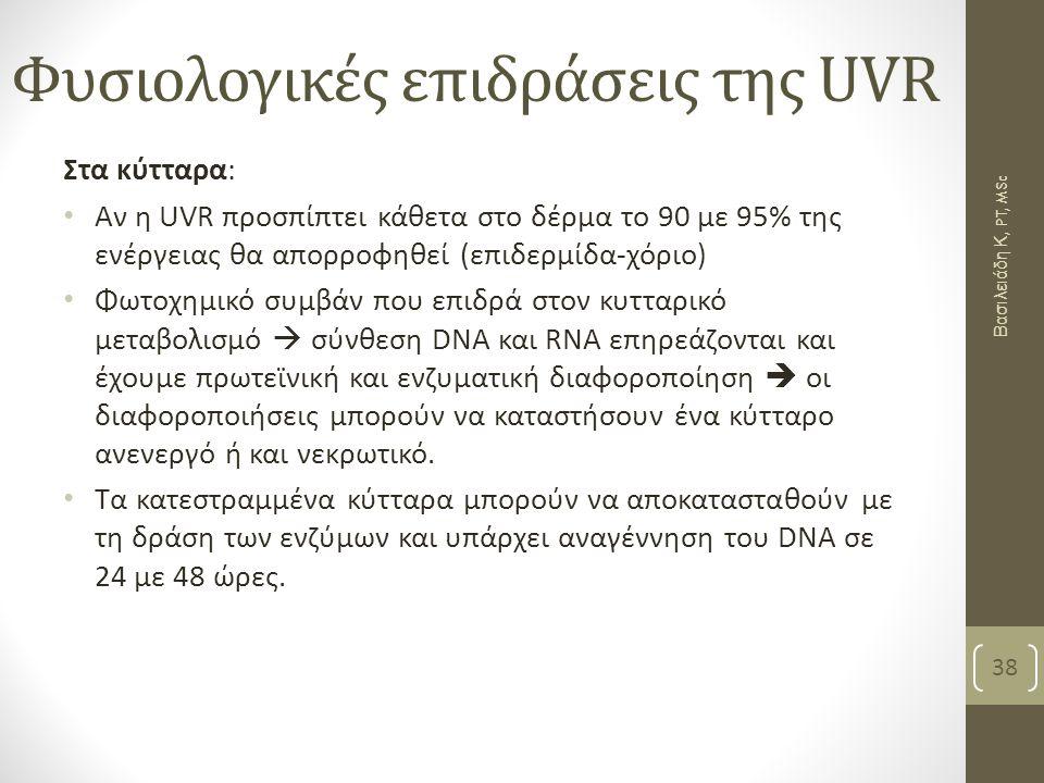 Φυσιολογικές επιδράσεις της UVR Στα κύτταρα: Αν η UVR προσπίπτει κάθετα στο δέρμα το 90 με 95% της ενέργειας θα απορροφηθεί (επιδερμίδα-χόριο) Φωτοχημ