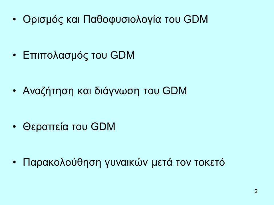 2 Ορισμός και Παθοφυσιολογία του GDM Επιπολασμός του GDM Αναζήτηση και διάγνωση του GDM Θεραπεία του GDM Παρακολούθηση γυναικών μετά τον τοκετό
