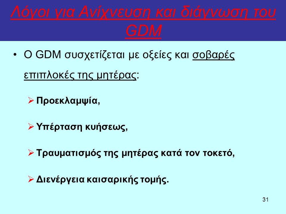 31 Λόγοι για Ανίχνευση και διάγνωση του GDM Ο GDM συσχετίζεται με οξείες και σοβαρές επιπλοκές της μητέρας:  Προεκλαμψία,  Υπέρταση κυήσεως,  Τραυματισμός της μητέρας κατά τον τοκετό,  Διενέργεια καισαρικής τομής.