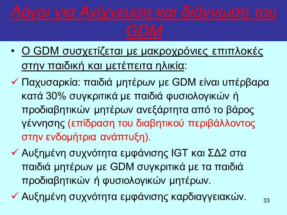 33 Λόγοι για Ανίχνευση και διάγνωση του GDM Ο GDM συσχετίζεται με μακροχρόνιες επιπλοκές στην παιδική και μετέπειτα ηλικία: Παχυσαρκία: παιδιά μητέρων με GDM είναι υπέρβαρα κατά 30% συγκριτικά με παιδιά φυσιολογικών ή προδιαβητικών μητέρων ανεξάρτητα από το βάρος γέννησης (επίδραση του διαβητικού περιβάλλοντος στην ενδομήτρια ανάπτυξη).