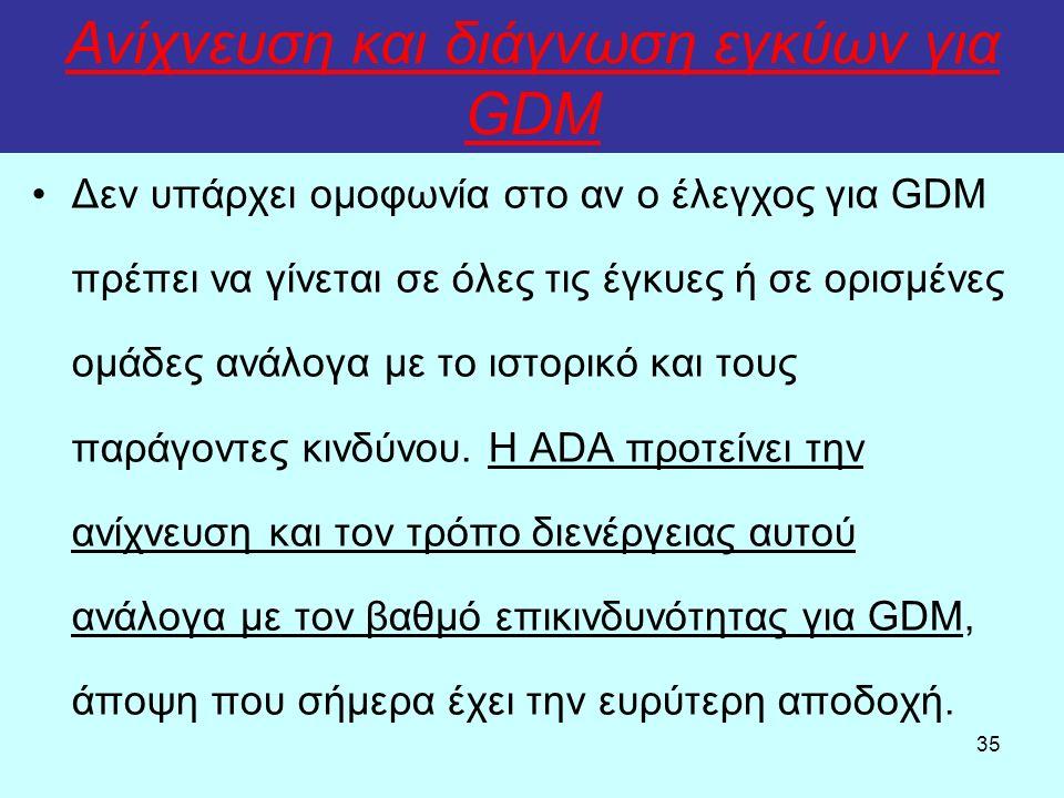 35 Ανίχνευση και διάγνωση εγκύων για GDM Δεν υπάρχει ομοφωνία στο αν ο έλεγχος για GDM πρέπει να γίνεται σε όλες τις έγκυες ή σε ορισμένες ομάδες ανάλ