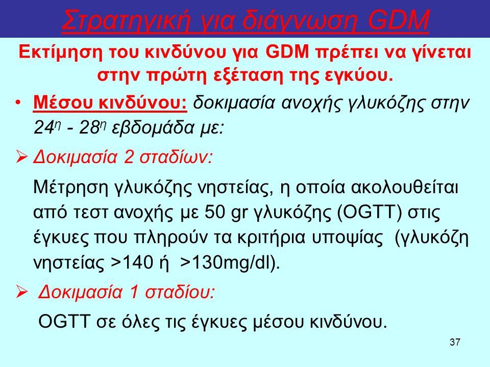 37 Στρατηγική για διάγνωση GDM Μέσου κινδύνου: δοκιμασία ανοχής γλυκόζης στην 24 η - 28 η εβδομάδα με:  Δοκιμασία 2 σταδίων: Μέτρηση γλυκόζης νηστείας, η οποία ακολουθείται από τεστ ανοχής με 50 gr γλυκόζης (OGTΤ) στις έγκυες που πληρούν τα κριτήρια υποψίας (γλυκόζη νηστείας >140 ή >130mg/dl).