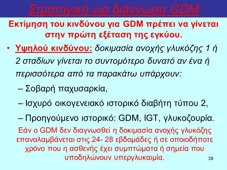 38 Στρατηγική για διάγνωση GDM Υψηλού κινδύνου: δοκιμασία ανοχής γλυκόζης 1 ή 2 σταδίων γίνεται το συντομότερο δυνατό αν ένα ή περισσότερα από τα παρακάτω υπάρχουν: –Σοβαρή παχυσαρκία, –Ισχυρό οικογενειακό ιστορικό διαβήτη τύπου 2, –Προηγούμενο ιστορικό: GDM, IGT, γλυκοζουρία.