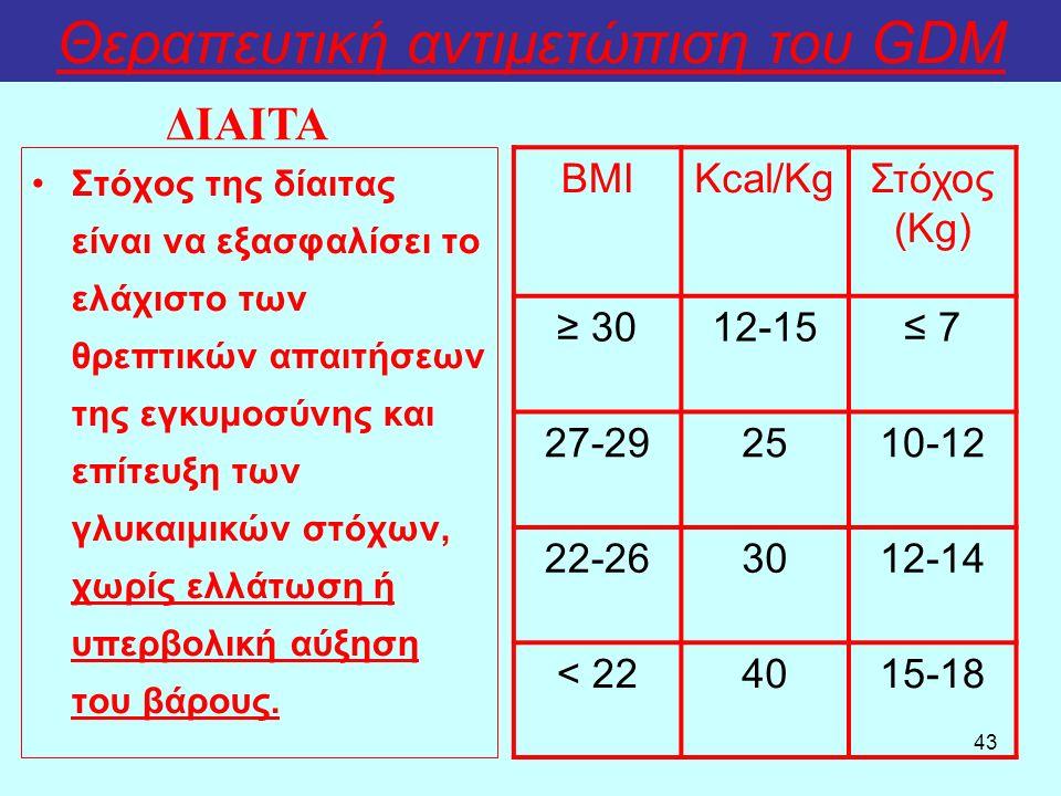 43 Θεραπευτική αντιμετώπιση του GDM Στόχος της δίαιτας είναι να εξασφαλίσει το ελάχιστο των θρεπτικών απαιτήσεων της εγκυμοσύνης και επίτευξη των γλυκ