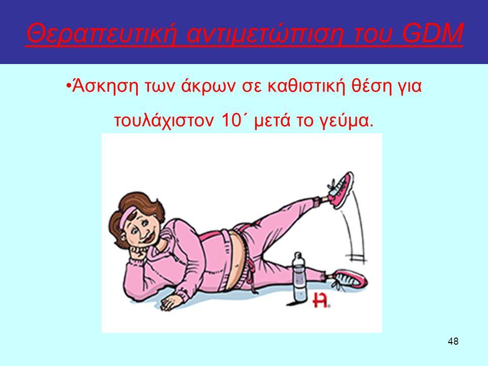 48 Θεραπευτική αντιμετώπιση του GDM Άσκηση των άκρων σε καθιστική θέση για τουλάχιστον 10΄ μετά το γεύμα.
