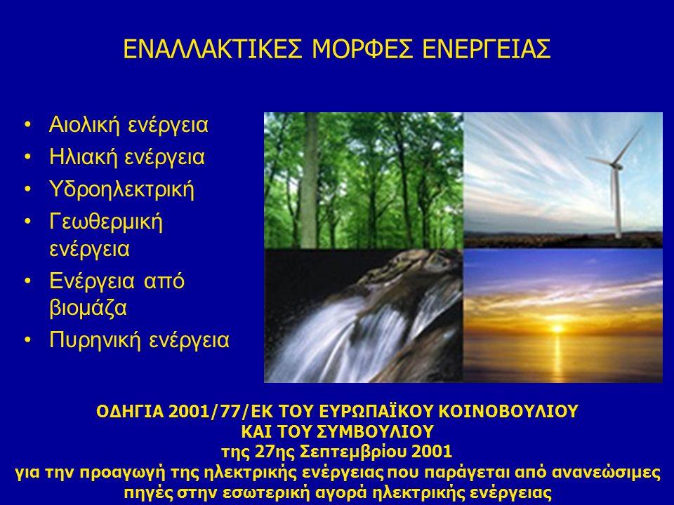 ΕΝΑΛΛΑΚΤΙΚΕΣ ΜΟΡΦΕΣ ΕΝΕΡΓΕΙΑΣ Αιολική ενέργεια Ηλιακή ενέργεια Υδροηλεκτρική Γεωθερμική ενέργεια Ενέργεια από βιομάζα Πυρηνική ενέργεια ΟΔΗΓΙΑ 2001/77