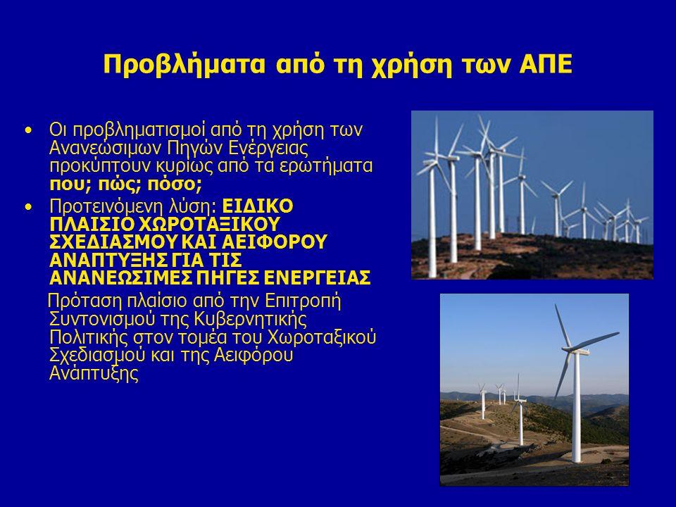 Προβλήματα από τη χρήση των ΑΠΕ Οι προβληματισμοί από τη χρήση των Ανανεώσιμων Πηγών Ενέργειας προκύπτουν κυρίως από τα ερωτήματα που; πώς; πόσο; Προτ