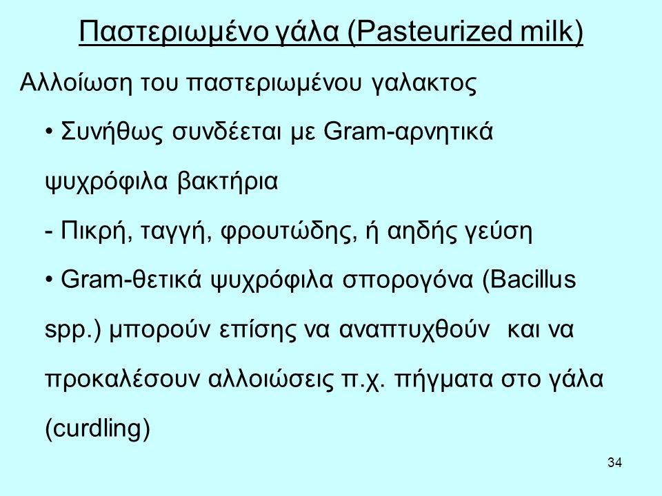 34 Παστεριωμένο γάλα (Pasteurized milk) Αλλοίωση του παστεριωμένου γαλακτος Συνήθως συνδέεται με Gram-αρνητικά ψυχρόφιλα βακτήρια - Πικρή, ταγγή, φρουτώδης, ή αηδής γεύση Gram-θετικά ψυχρόφιλα σπορογόνα (Bacillus spp.) μπορούν επίσης να αναπτυχθούν και να προκαλέσουν αλλοιώσεις π.χ.