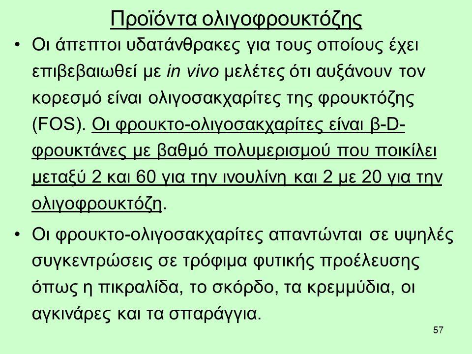 57 Προϊόντα ολιγοφρουκτόζης Οι άπεπτοι υδατάνθρακες για τους οποίους έχει επιβεβαιωθεί με in vivo μελέτες ότι αυξάνουν τον κορεσμό είναι ολιγοσακχαρίτες της φρουκτόζης (FOS).