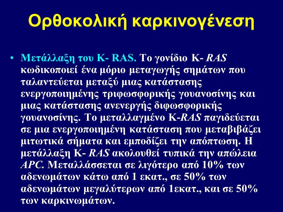 Ορθοκολική καρκινογένεση Μετάλλαξη του Κ- RAS.