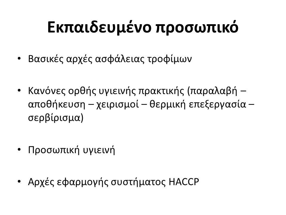 Εκπαιδευμένο προσωπικό Βασικές αρχές ασφάλειας τροφίμων Κανόνες ορθής υγιεινής πρακτικής (παραλαβή – αποθήκευση – χειρισμοί – θερμική επεξεργασία – σερβίρισμα) Προσωπική υγιεινή Αρχές εφαρμογής συστήματος HACCP