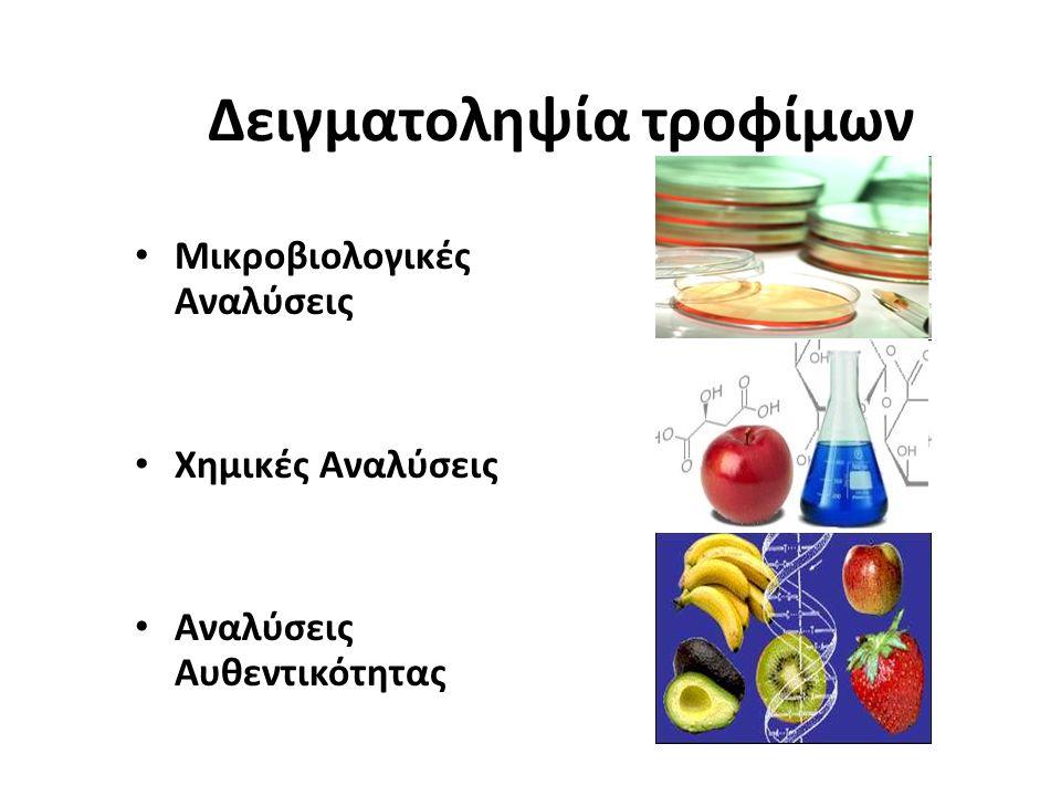 Δειγματοληψία τροφίμων Μικροβιολογικές Αναλύσεις Χημικές Αναλύσεις Αναλύσεις Αυθεντικότητας