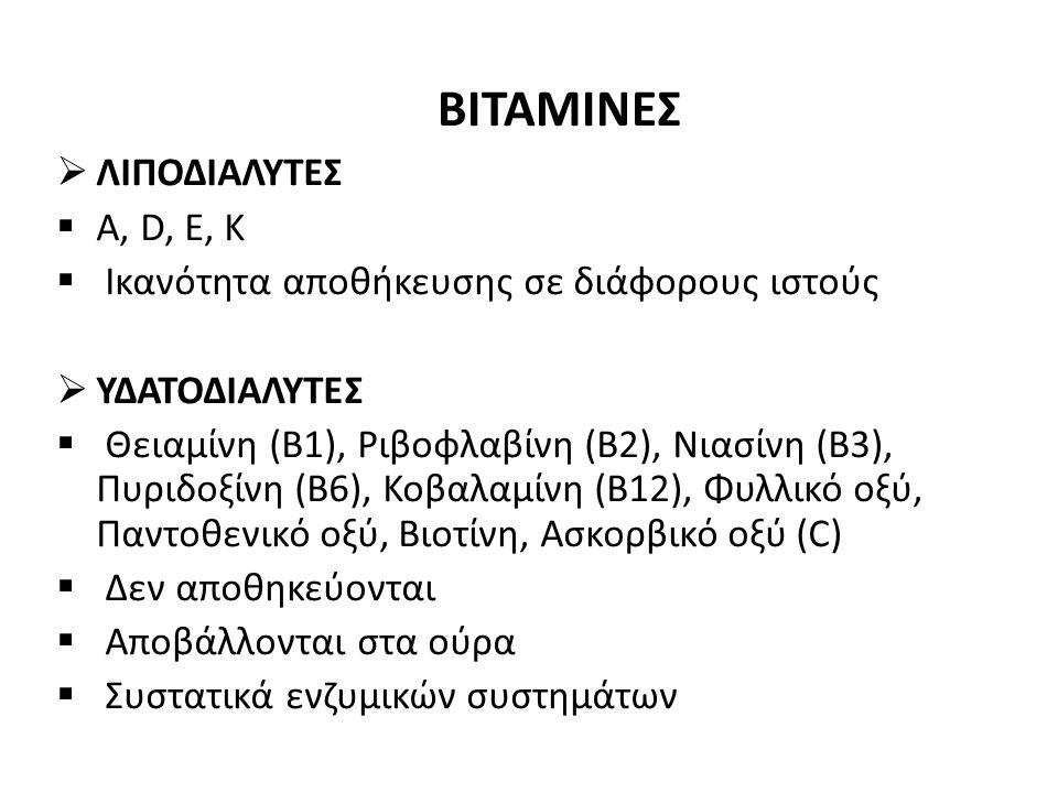 ΒΙΤΑΜΙΝΕΣ  ΛΙΠΟΔΙΑΛΥΤΕΣ  Α, D, Ε, K  Ικανότητα αποθήκευσης σε διάφορους ιστούς  ΥΔΑΤΟΔΙΑΛΥΤΕΣ  Θειαμίνη (Β1), Ριβοφλαβίνη (Β2), Νιασίνη (Β3), Πυριδοξίνη (Β6), Κοβαλαμίνη (Β12), Φυλλικό οξύ, Παντοθενικό οξύ, Βιοτίνη, Ασκορβικό οξύ (C)  Δεν αποθηκεύονται  Αποβάλλονται στα ούρα  Συστατικά ενζυμικών συστημάτων