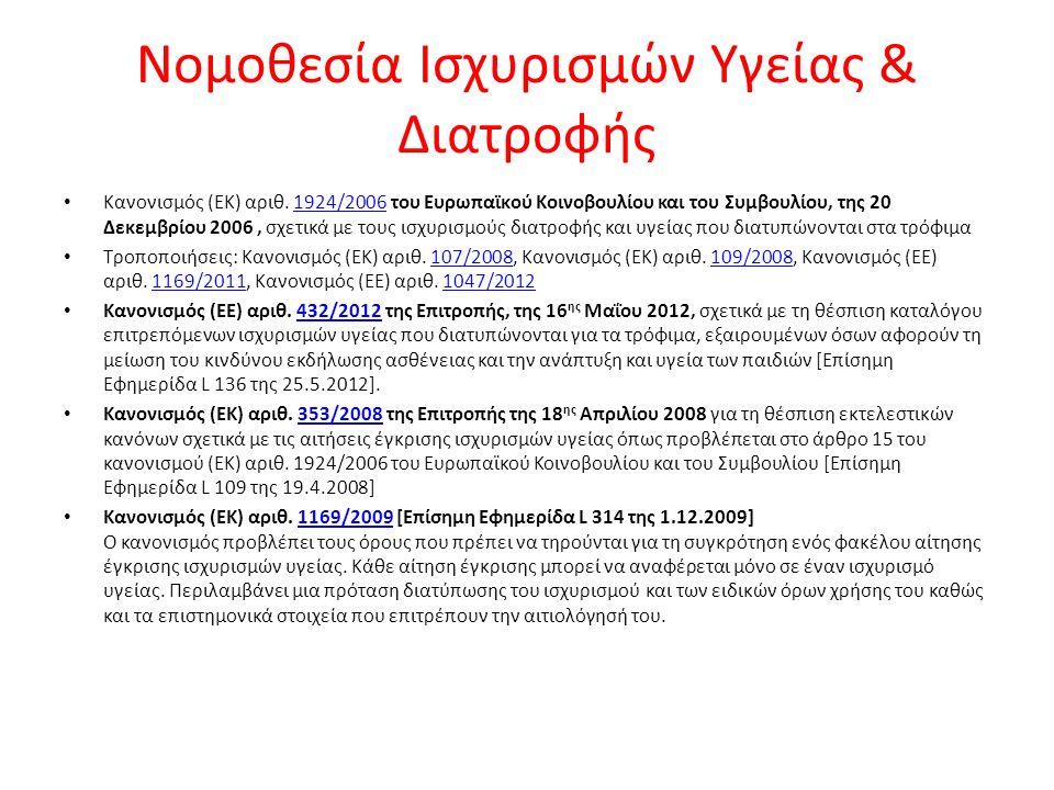 Νομοθεσία Ισχυρισμών Υγείας & Διατροφής Κανονισμός (ΕΚ) αριθ.