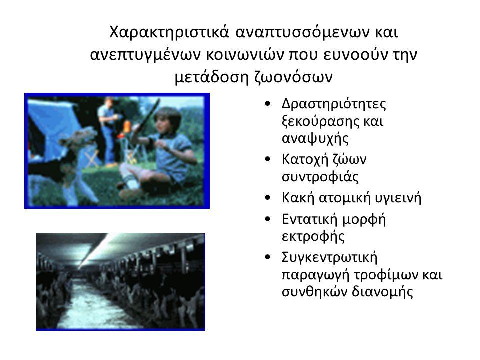 Χαρακτηριστικά αναπτυσσόμενων και ανεπτυγμένων κοινωνιών που ευνοούν την μετάδοση ζωονόσων Δραστηριότητες ξεκούρασης και αναψυχής Κατοχή ζώων συντροφιάς Κακή ατομική υγιεινή Εντατική μορφή εκτροφής Συγκεντρωτική παραγωγή τροφίμων και συνθηκών διανομής
