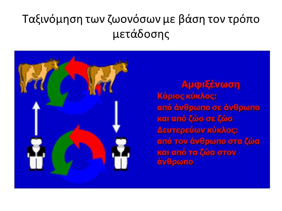 Ταξινόμηση των ζωονόσων με βάση τον τρόπο μετάδοσης Αμφιξένωση Κύριος κύκλος: από άνθρωπο σε άνθρωπο και από ζώο σε ζώο Δευτερεύων κύκλος: από τον άνθρωπο στα ζώα και από τα ζώα στον άνθρωπο