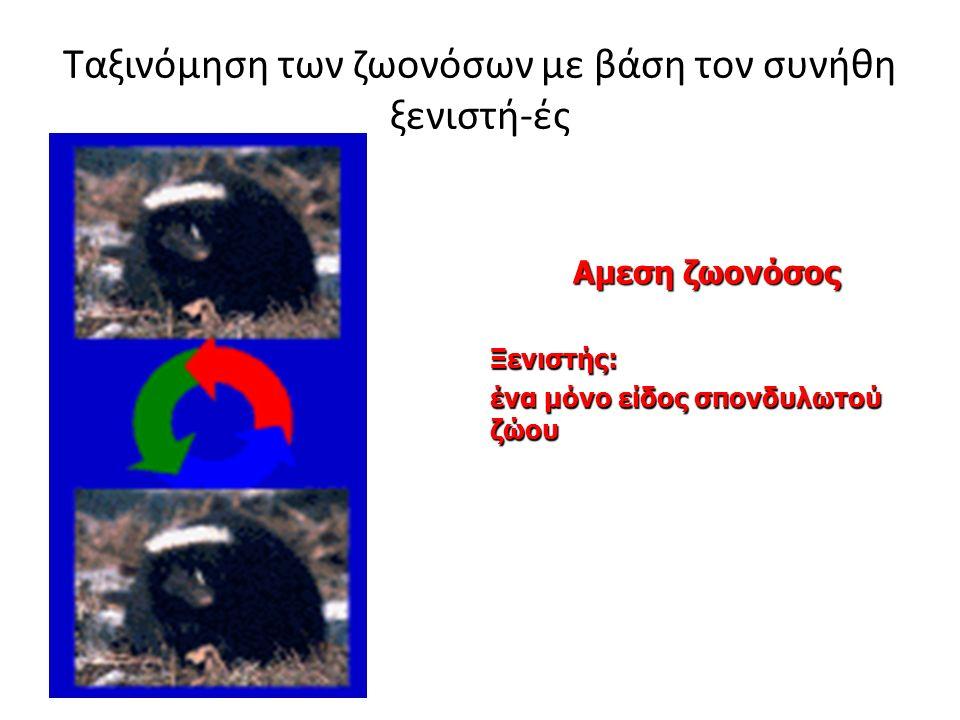 Ταξινόμηση των ζωονόσων με βάση τον συνήθη ξενιστή-ές Αμεση ζωονόσος Ξενιστής: ένα μόνο είδος σπονδυλωτού ζώου