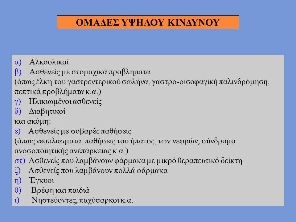 α) Αλκοολικοί β) Ασθενείς με στομαχικά προβλήματα (όπως έλκη του γαστρεντερικού σωλήνα, γαστρο-οισοφαγική παλινδρόμηση, πεπτικά προβλήματα κ.α.) γ) Ηλ