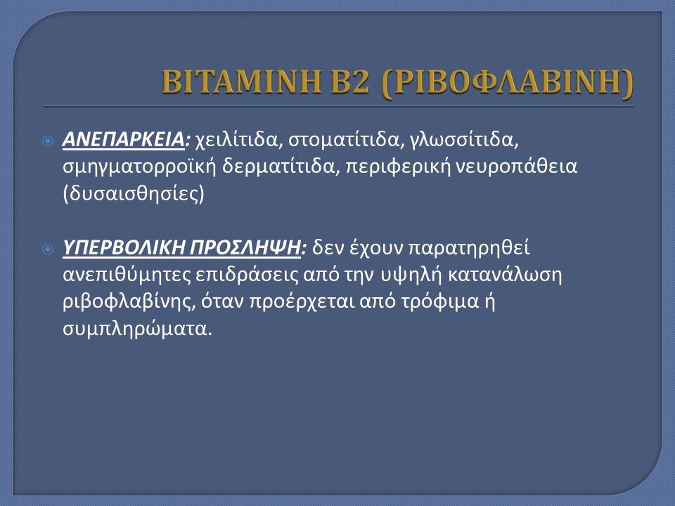  ΑΝΕΠΑΡΚΕΙΑ: χειλίτιδα, στοματίτιδα, γλωσσίτιδα, σμηγματορροϊκή δερματίτιδα, περιφερική νευροπάθεια (δυσαισθησίες)  ΥΠΕΡΒΟΛΙΚΗ ΠΡΟΣΛΗΨΗ: δεν έχουν παρατηρηθεί ανεπιθύμητες επιδράσεις από την υψηλή κατανάλωση ριβοφλαβίνης, όταν προέρχεται από τρόφιμα ή συμπληρώματα.