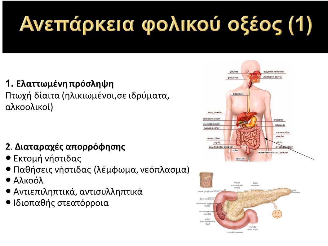 1. Ελαττωμένη πρόσληψη Πτωχή δίαιτα (ηλικιωμένοι,σε ιδρύματα, αλκοολικοί) 2.