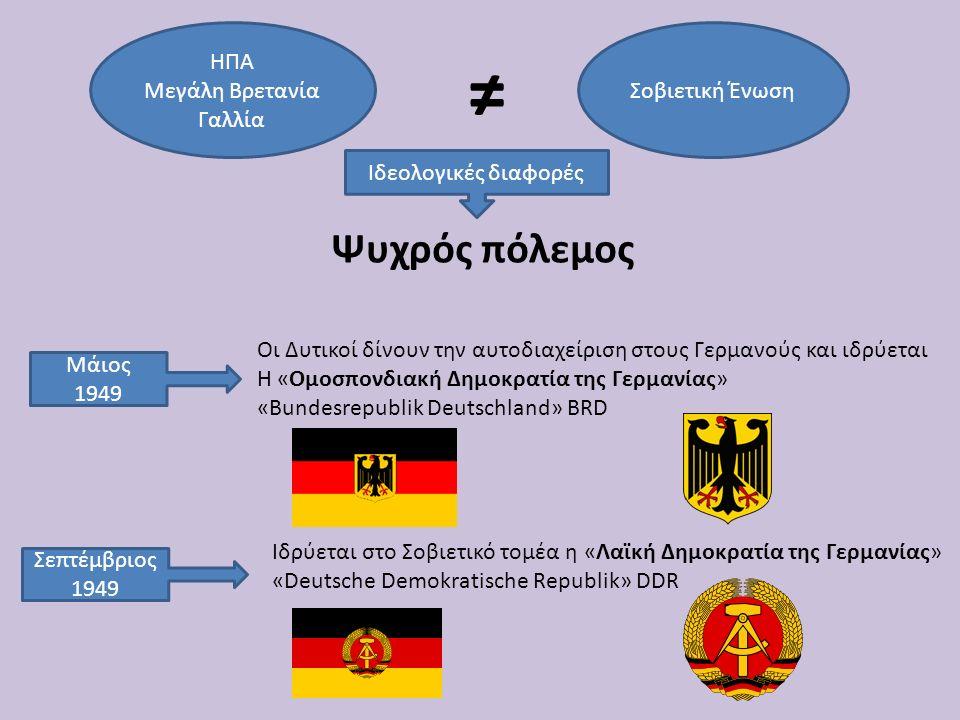 ΗΠΑ Μεγάλη Βρετανία Γαλλία Σοβιετική Ένωση ≠ Ιδεολογικές διαφορές Ψυχρός πόλεμος Μάιος 1949 Οι Δυτικοί δίνουν την αυτοδιαχείριση στους Γερμανούς και ι