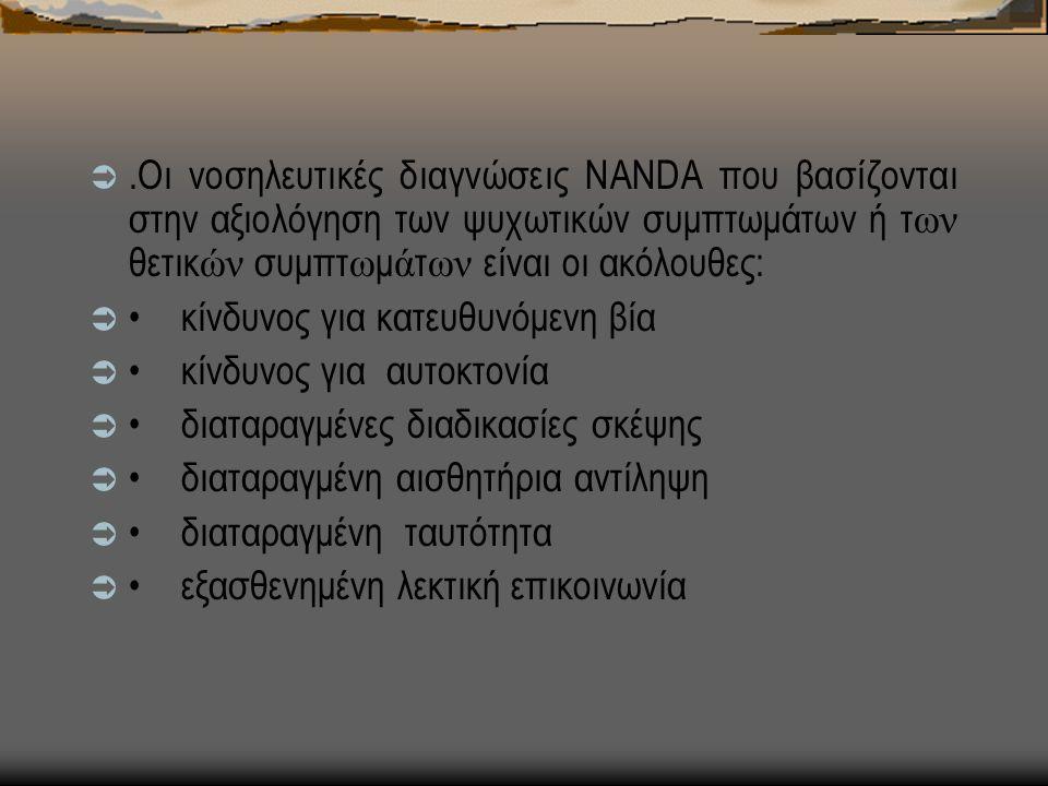.Οι νοσηλευτικές διαγνώσεις NANDA που βασίζονται στην αξιολόγηση των ψυχωτικών συμπτωμάτων ή τ ων θετικ ών συμπτ ω μ ά τ ων είναι οι ακόλουθες:  κίνδυνος για κατευθυνόμενη βία  κίνδυνος για αυτοκτονία  διαταραγμένες διαδικασίες σκέψης  διαταραγμένη αισθητήρια αντίληψη  διαταραγμένη ταυτότητα  εξασθενημένη λεκτική επικοινωνία