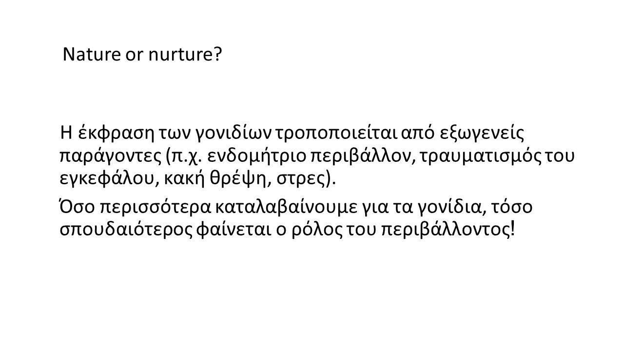 Nature or nurture. Η έκφραση των γονιδίων τροποποιείται από εξωγενείς παράγοντες (π.χ.