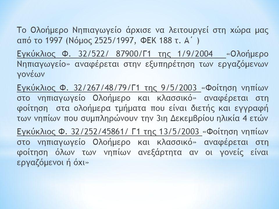 Το Ολοήμερο Νηπιαγωγείο άρχισε να λειτουργεί στη χώρα μας από το 1997 (Νόμος 2525/1997, ΦΕΚ 188 τ.