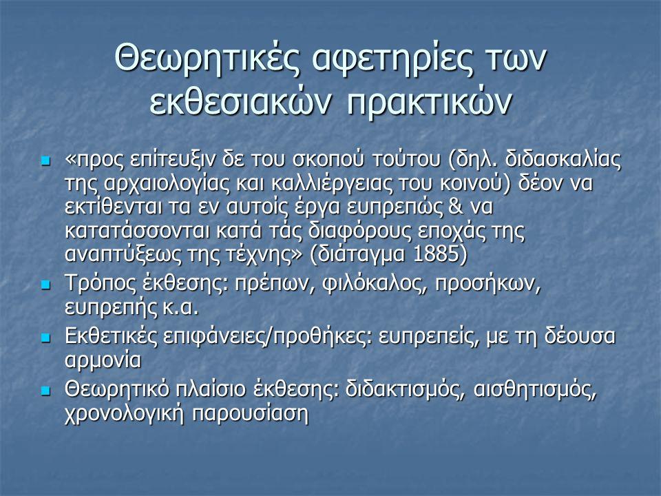 Θεωρητικές αφετηρίες των εκθεσιακών πρακτικών «προς επίτευξιν δε του σκοπού τούτου (δηλ. διδασκαλίας της αρχαιολογίας και καλλιέργειας του κοινού) δέο