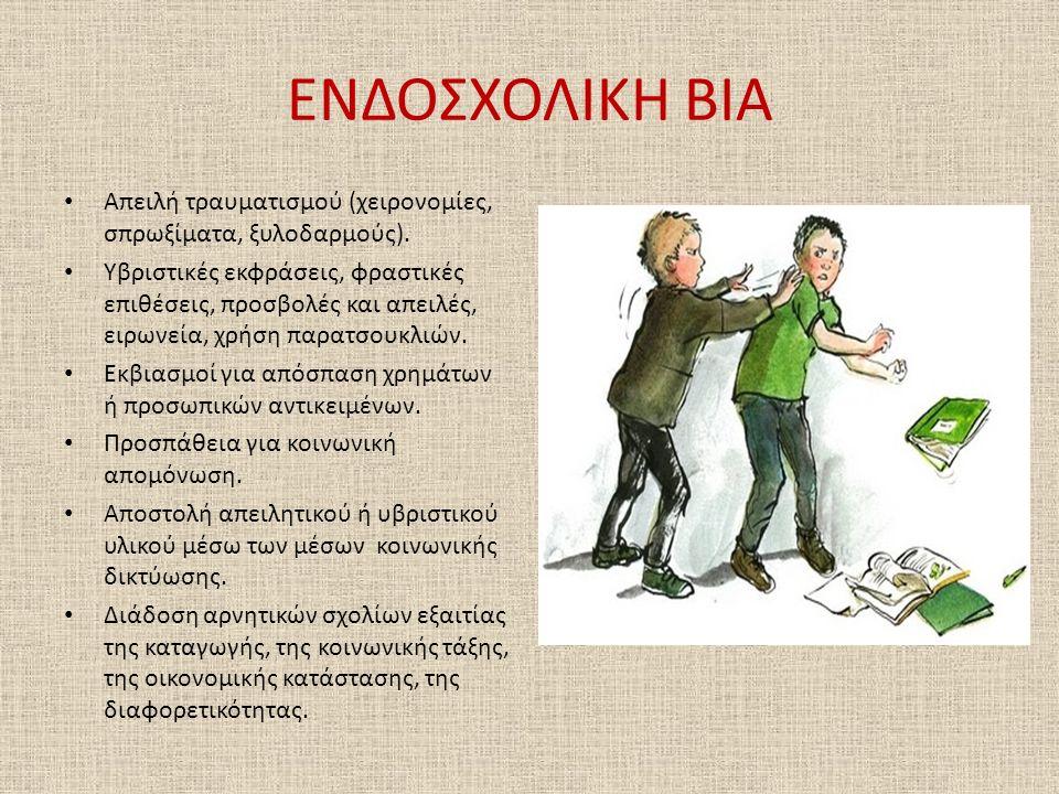 ΕΝΔΟΣΧΟΛΙΚΗ ΒΙΑ Απειλή τραυματισμού (χειρονομίες, σπρωξίματα, ξυλοδαρμούς).