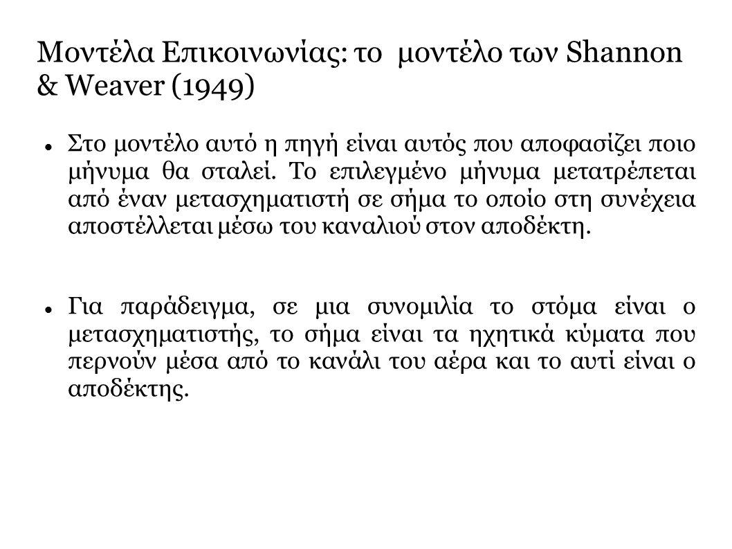 Μοντέλα Επικοινωνίας: το μοντέλο των Shannon & Weaver (1949) Στο μοντέλο αυτό η πηγή είναι αυτός που αποφασίζει ποιο μήνυμα θα σταλεί.