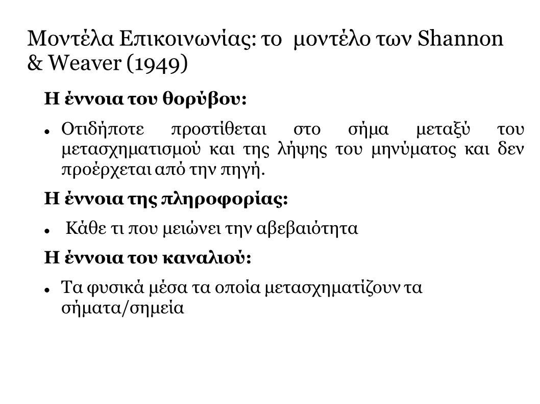 Μοντέλα Επικοινωνίας: το μοντέλο των Shannon & Weaver (1949) Η έννοια του θορύβου: Οτιδήποτε προστίθεται στο σήμα μεταξύ του μετασχηματισμού και της λήψης του μηνύματος και δεν προέρχεται από την πηγή.