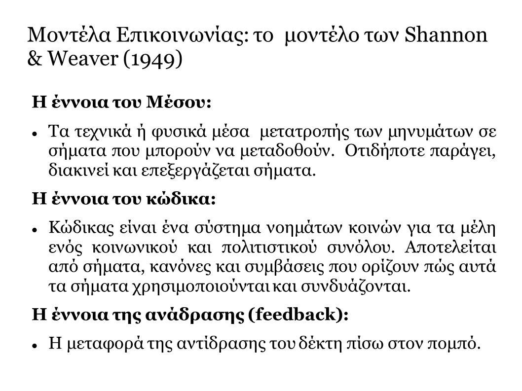 Μοντέλα Επικοινωνίας: το μοντέλο των Shannon & Weaver (1949) Η έννοια του Μέσου: Τα τεχνικά ή φυσικά μέσα μετατροπής των μηνυμάτων σε σήματα που μπορούν να μεταδοθούν.