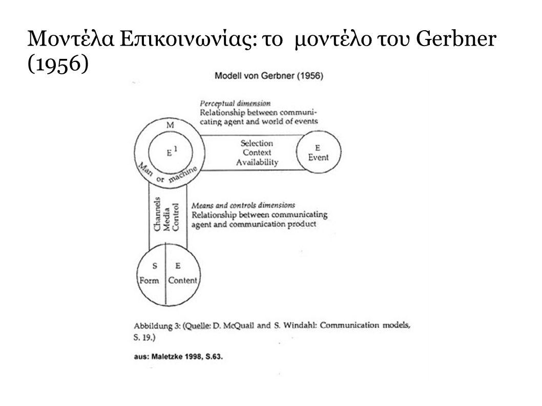 Μοντέλα Επικοινωνίας: το μοντέλο του Gerbner (1956)